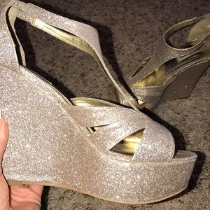 Size 10 Gold Glitter Wedges